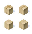 set of four isometric cardboard boxes isolated on vector image