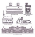set of isolated town and city hall architecture vector image vector image