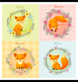 set season background with fox vector image