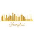 Shanghai City skyline golden silhouette vector image
