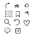 social media icon collection with hand drawn vector image vector image