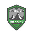 summer camp trekking vintage isolated badge vector image vector image