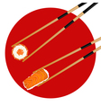 Sushi roll red caviar and shrimp in chopsticks vector image vector image