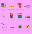 the electricians tools icons set vector image vector image