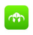 viking helmet classic icon green vector image vector image