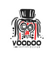 voodoo african and american magic logo skull with vector image vector image