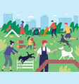 walking with dogs in park people playing running vector image vector image