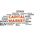 word cloud capital market vector image