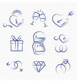 sketch style wedding line icons on notebook page vector image