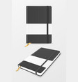 3d realistic black closed blank paper vector image vector image