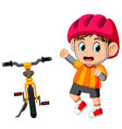 a boy posing with a bicycle vector image