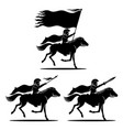 a set knights on horses vector image vector image