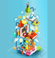 a tower of books with reading people vector image vector image