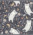 adorable seamless pattern with a cute cat vector image vector image