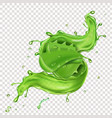 aloe juice splash and leaf realistic icon vector image