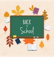 back to school with books and autumn leafs on vector image vector image