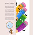 banner template with cartoon stationery elements vector image vector image