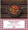 bbq grill on wooden background hot sausages vector image