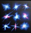 blue stars bursts glow light effect magic vector image vector image