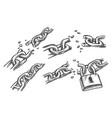 broken chain links sketch lock or padlock vector image