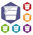 bucket icons hexahedron vector image vector image