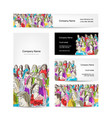 business cards collection people crowd design vector image vector image