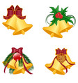 christmas bells set vector image vector image