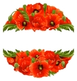 circle frame with red poppies vector image vector image