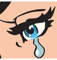 Close-up blue eyes a woman crying vector image vector image