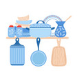 crockery ceramic cookware blue porcelain dishes vector image