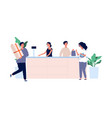 customer service concept shoppers with products vector image vector image