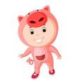 cute kids wearing animal costumes vector image
