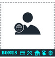 delivery man icon flat vector image vector image