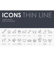 Domestic Animals Thin Line Icons vector image