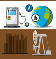 flat landscape releated gasoline and fossil energy vector image vector image