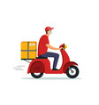 food delivery courier service on motorcycle fast vector image