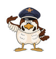 funny cartoon sparrow in service cap with pilot vector image vector image