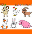 funny farm animal cartoon characters set vector image vector image