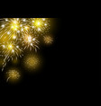 gold fireworks design on black background vector image vector image