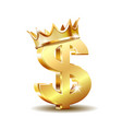 golden dollar symbol with golden crown isolated on vector image