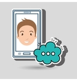 guy cartoon smartphone cloud chat vector image
