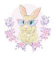 hand drawn fashion portrait of bunny vector image