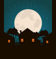 homes in the moonlight vector image vector image