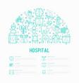 hospital concept in half circle vector image vector image