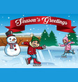 kids ice skating with snowman vector image