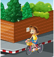Little girl riding bike on the road vector image vector image