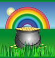 magic pot with gold coins for st patricks day vector image
