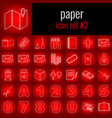 paper icon set 2 white line icon on red gradient vector image