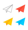paper plane isometric icon set origami vector image