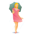 pretty umbrella girl vector image vector image